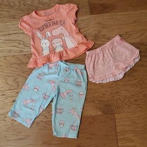 3/$15 Bunny Dinosaur Owl Pajamas 3-piece Toddler